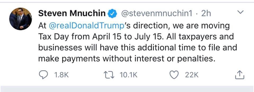 Mnuchin's clarification on President Trump's statement.